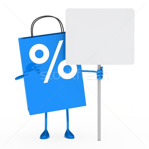 Stok fotoğraf: Mavi · yüzde · satış · çanta · ilan · panosu