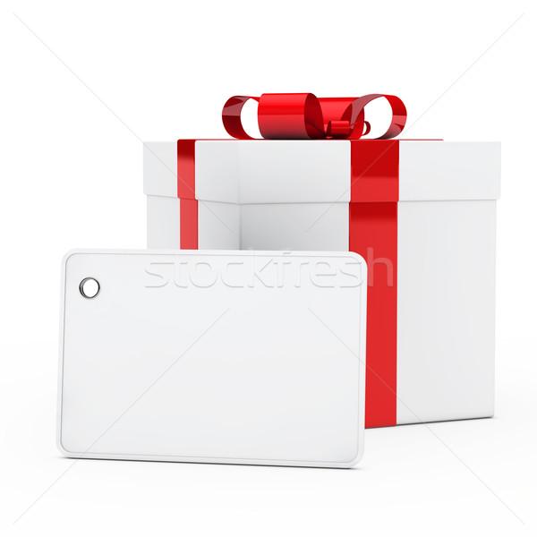 Ajándék doboz vörös szalag karácsony fehér születésnap doboz Stock fotó © dariusl