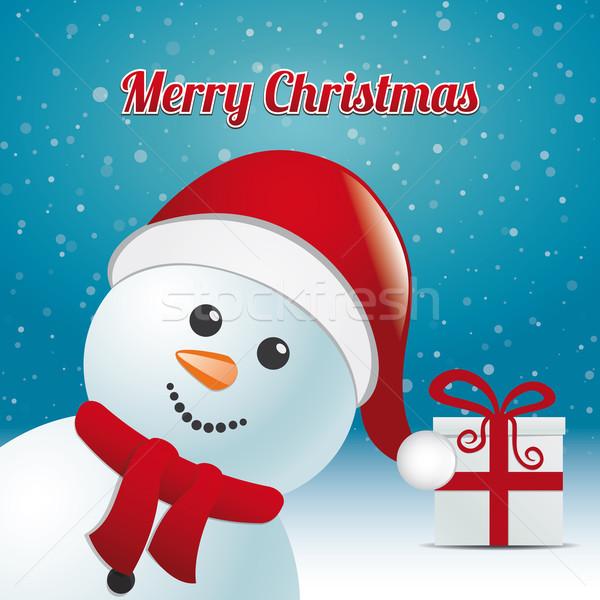 Kardan adam hediye kış neşeli Noel arka plan Stok fotoğraf © dariusl