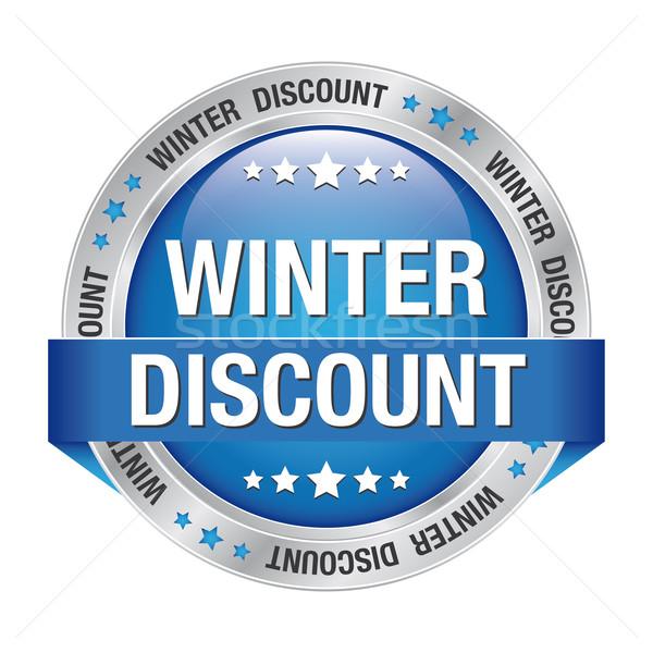 winter discount blue silver button Stock photo © dariusl