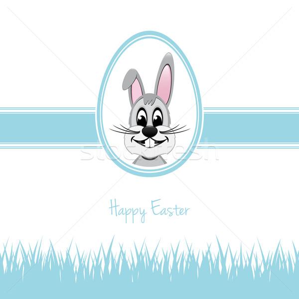 happy easter bunny egg grass blue Stock photo © dariusl