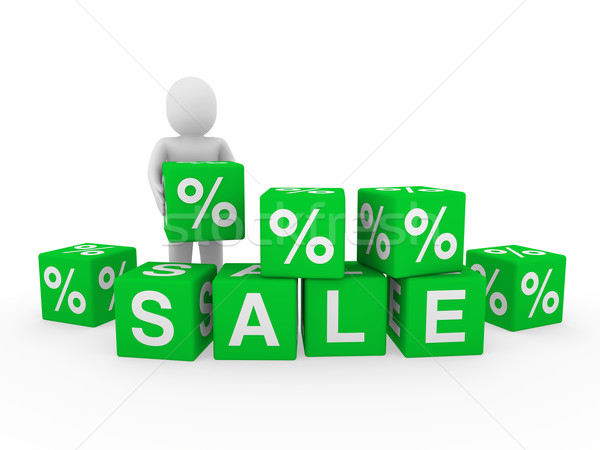 Stock photo: 3d sale cube human