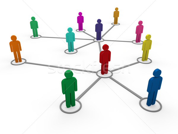 3d network team color Stock photo © dariusl