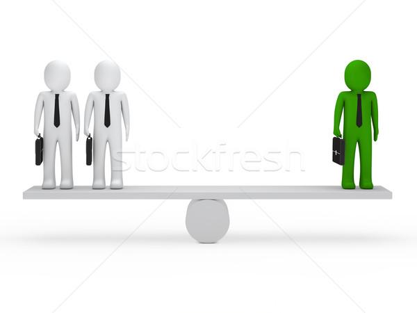 Uomini d'affari equilibrio altalena valigetta verde lavoro Foto d'archivio © dariusl