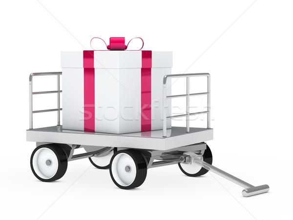 Stockfoto: Groot · geschenk · christmas · roze · witte · partij