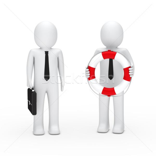 3d business man briefcase and lifebelt Stock photo © dariusl