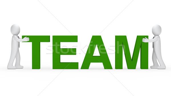 Zakenmannen groene team woord samen Stockfoto © dariusl