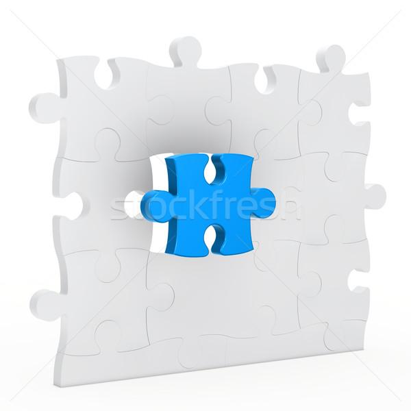 Foto stock: Rompecabezas · pared · uno · azul · fuera · color