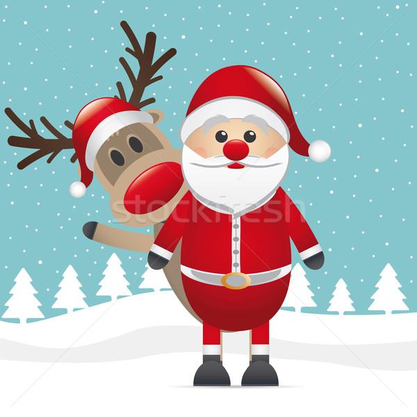 reindeer red nose santa claus wave Stock photo © dariusl