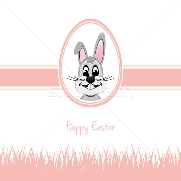 happy easter bunny egg grass pink Stock photo © dariusl