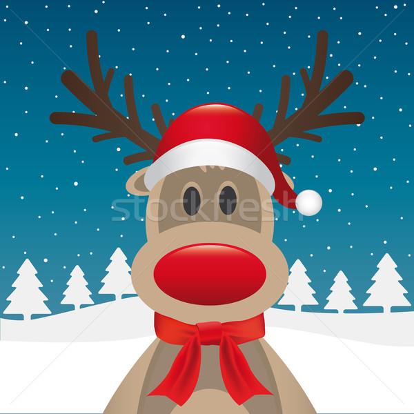 reindeer red nose scarf santa claus Stock photo © dariusl