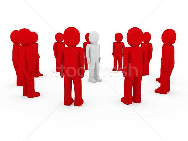 3d human group circle red Stock photo © dariusl