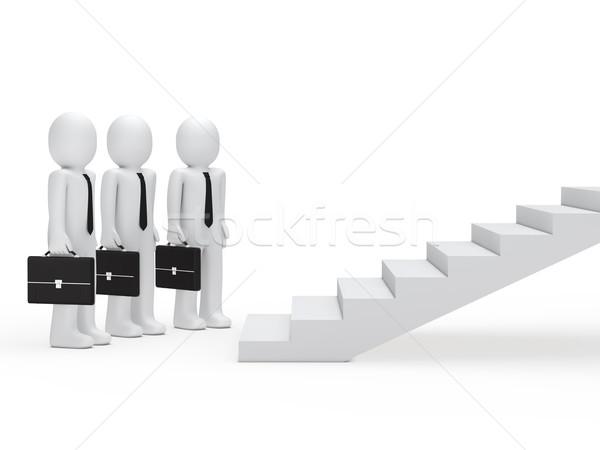 Tre imprenditori scale 3D valigetta imprenditore Foto d'archivio © dariusl