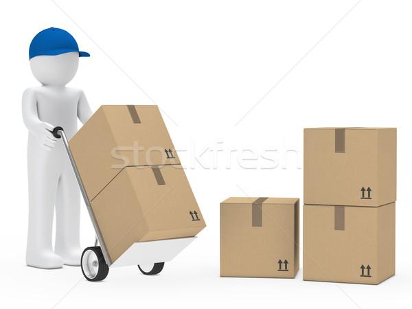 Człowiek utrzymać strony ciężarówka niebieski cap Zdjęcia stock © dariusl