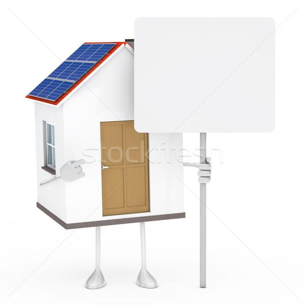 Casa figura solare stand tenere cartellone Foto d'archivio © dariusl
