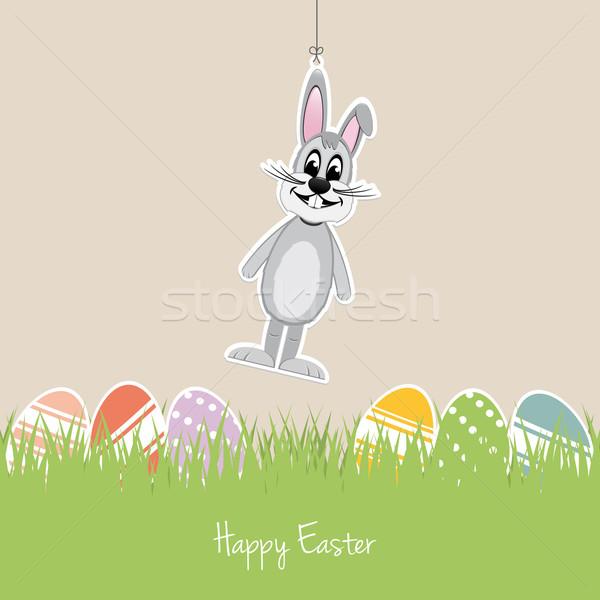 Kellemes húsvétot nyuszi színes tojások fű szürke Stock fotó © dariusl