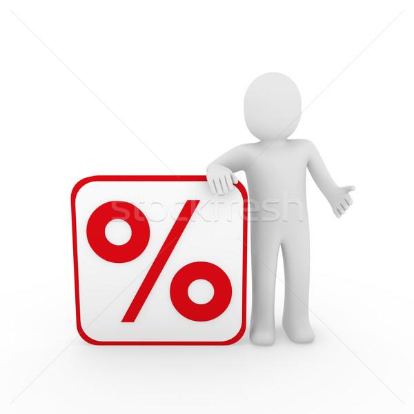3d ember vásár százalék piros emberi kocka Stock fotó © dariusl