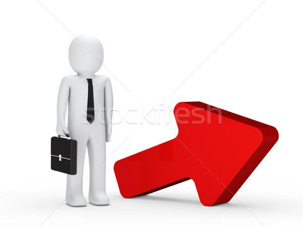 Foto d'archivio: Imprenditore · valigetta · rosso · arrow · stand · successivo