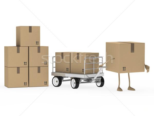 Pakket cijfer trekken vervoer bruin dienst Stockfoto © dariusl