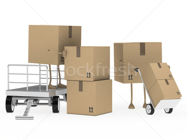 packages figure unload trolley Stock photo © dariusl