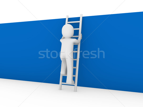3d human ladder wall blue Stock photo © dariusl