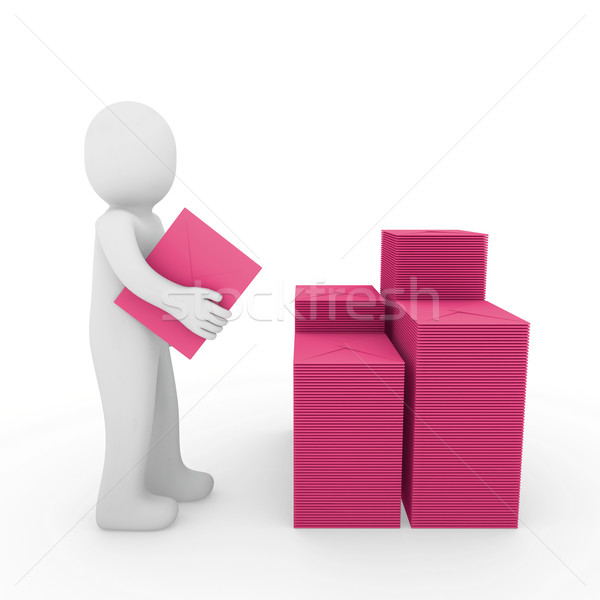 3d human letter mailbox pink Stock photo © dariusl