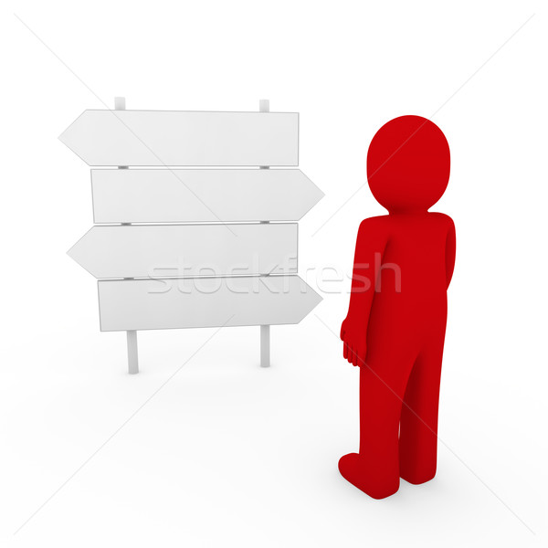 Stock photo: 3d human red direction arrow