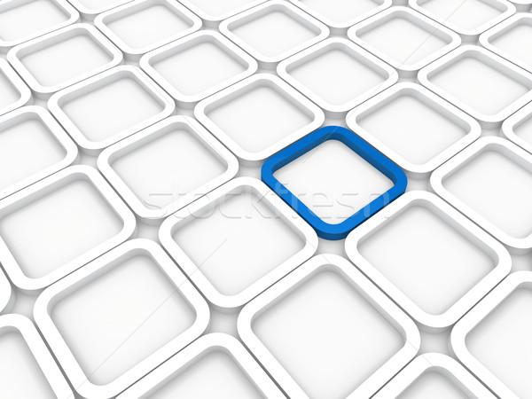 ストックフォト: 3D · キューブ · 青 · 白 · 構造 · コンピュータ