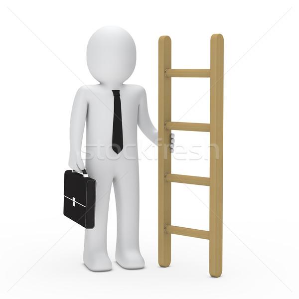 3d business briefcase man hold a ladder Stock photo © dariusl
