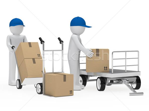 figure pick up a package Stock photo © dariusl