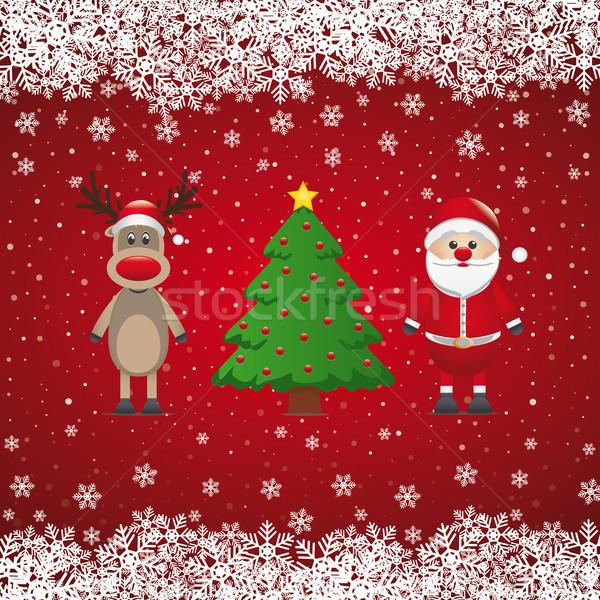 Noel baba ren geyiği noel ağacı ağaç kar arka plan Stok fotoğraf © dariusl