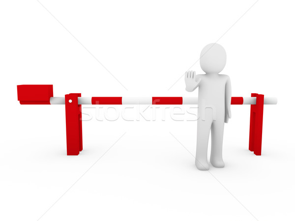 3d human stop barrier red  Stock photo © dariusl