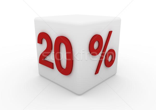 3d white red sale cube 20 Stock photo © dariusl