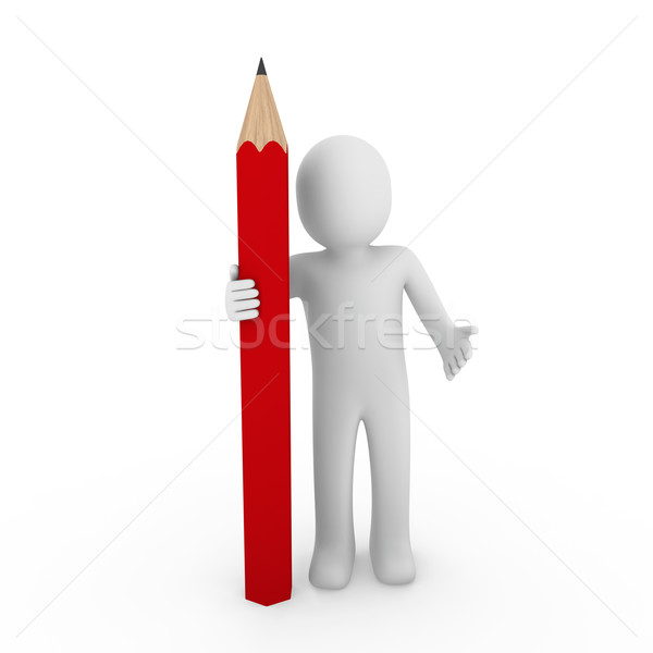 Stock photo: 3d human red pencil