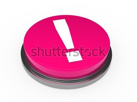 3D rosa botón signo de admiración blanco Internet Foto stock © dariusl