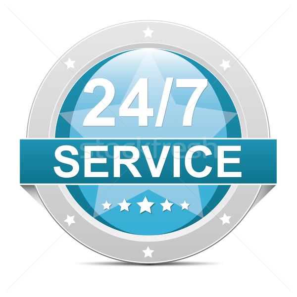 24 hizmet mavi 7 gün düğme Yıldız Stok fotoğraf © dariusl