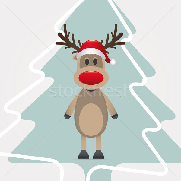 reindeer red nose hat pinetree Stock photo © dariusl