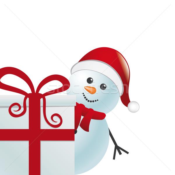snowman behind gift white background Stock photo © dariusl