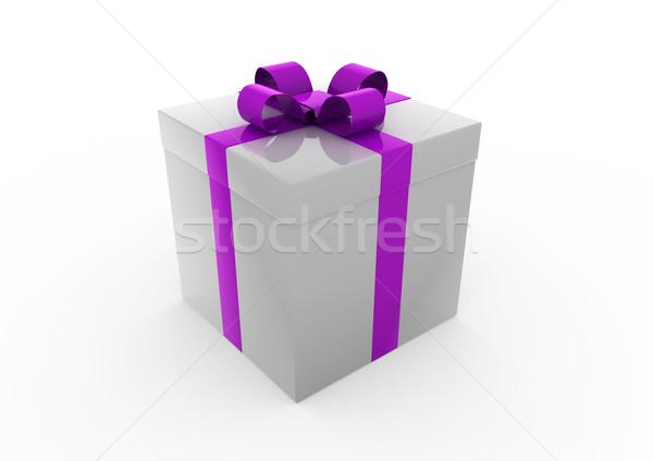 3D グレー 紫色 ギフトボックス 孤立した 白 ストックフォト © dariusl