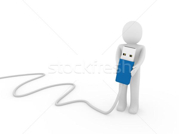 3d human man usb stick blue  Stock photo © dariusl