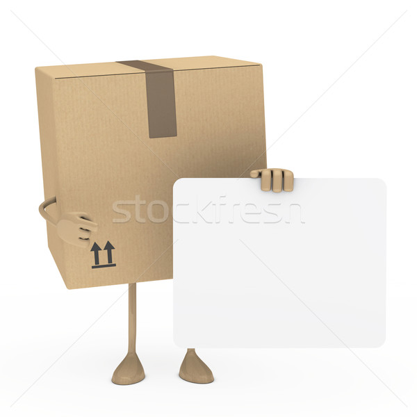 Paket parmak beyaz ilan panosu kutu satış Stok fotoğraf © dariusl