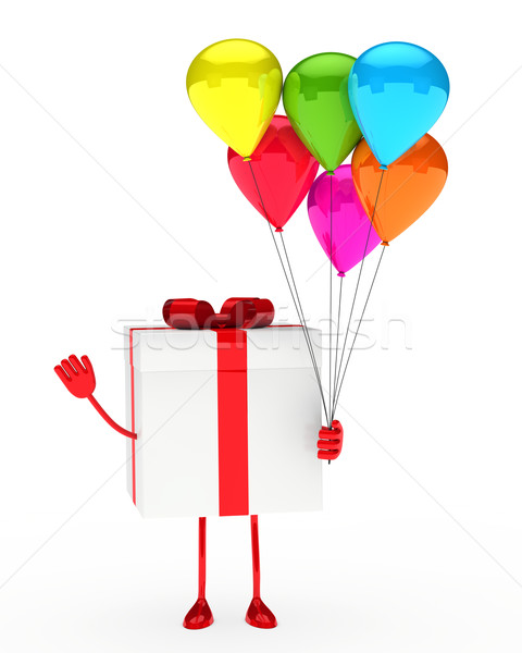 Regalo palloncini scatola regalo tenere onda mano Foto d'archivio © dariusl