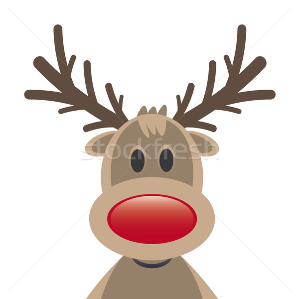 Reindeer Red Nose On White Background Stock Photo © Darius