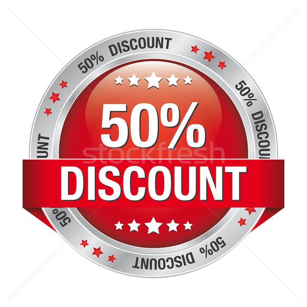 50 discount red silver button Stock photo © dariusl