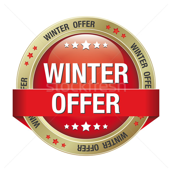 winter offer gold red button Stock photo © dariusl