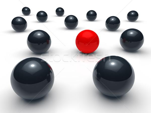 Ball 3d réseau rouge noir sphère équipe Photo stock © dariusl