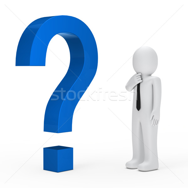 businessman blue question mark Stock photo © dariusl