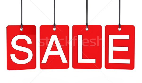 Stock photo: Red sale label