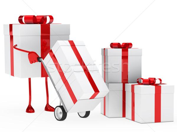 gift box hold hand truck Stock photo © dariusl
