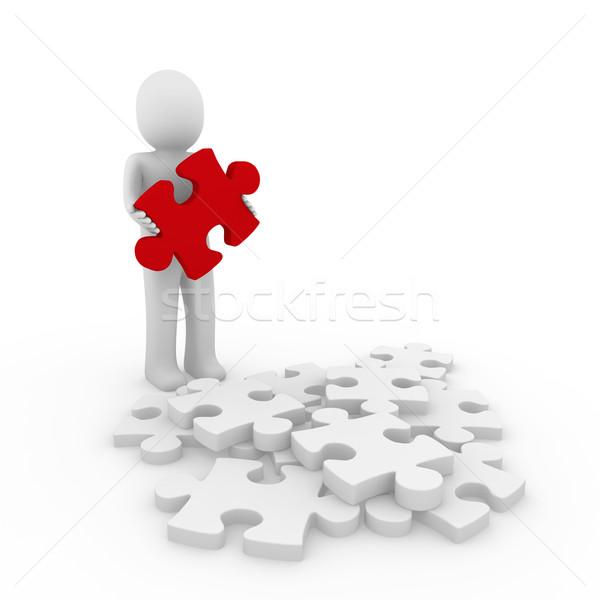 3d human red puzzle Stock photo © dariusl